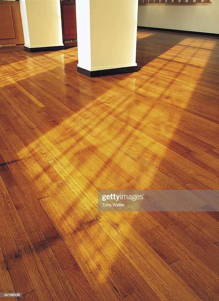 Sunlight shining on hardwood floor : Stock Photo