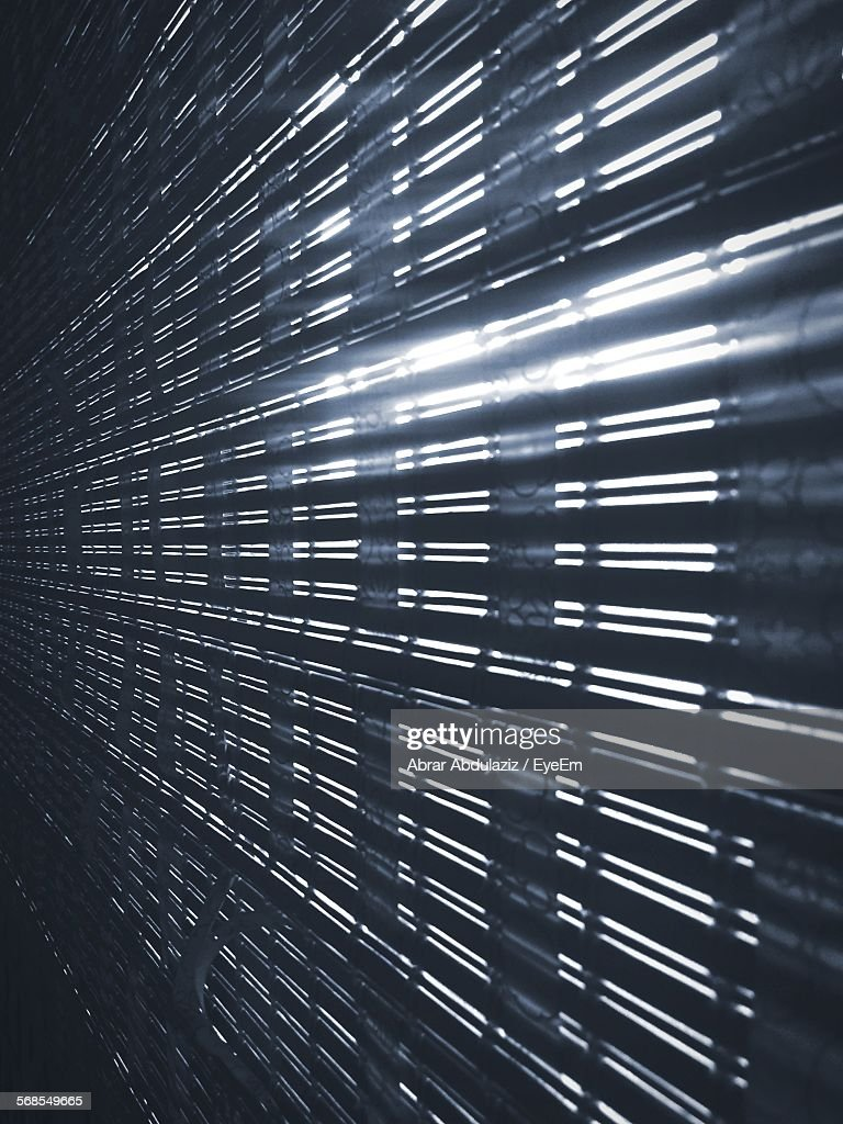 Sunlight Streaming Through Window Blinds At Home : Stock Photo
