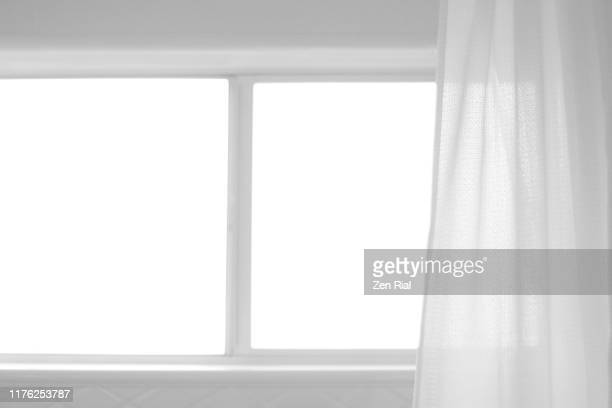 sunlight through bathroom window and a shower curtain in high key - window frame stock pictures, royalty-free photos & images