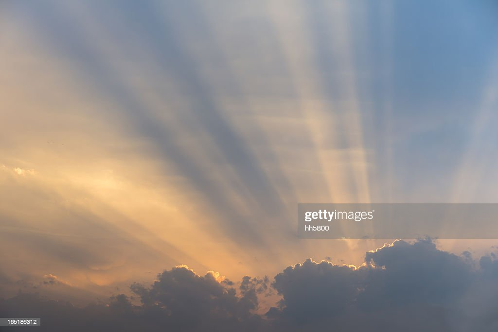 Sunlight,Rays of Light Behind Clouds, : Stock Photo