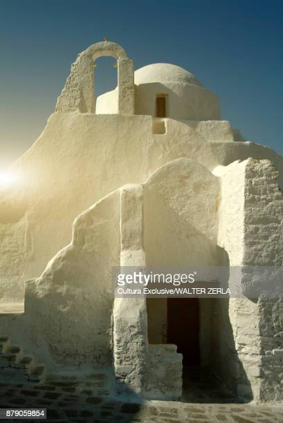 Sunlit detail of Church of Panagia Paraportiani, Mykonos, Cyclades, Greece