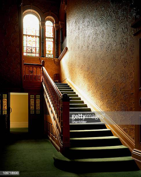 sunlit interior carpeted staircase - victorian style stock pictures, royalty-free photos & images
