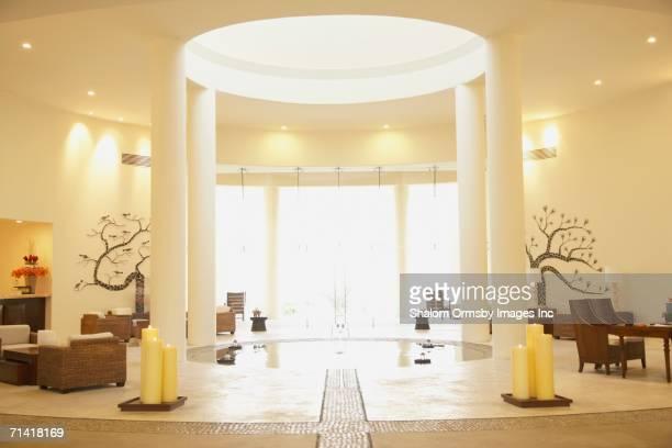 Sunlit resort hotel lobby
