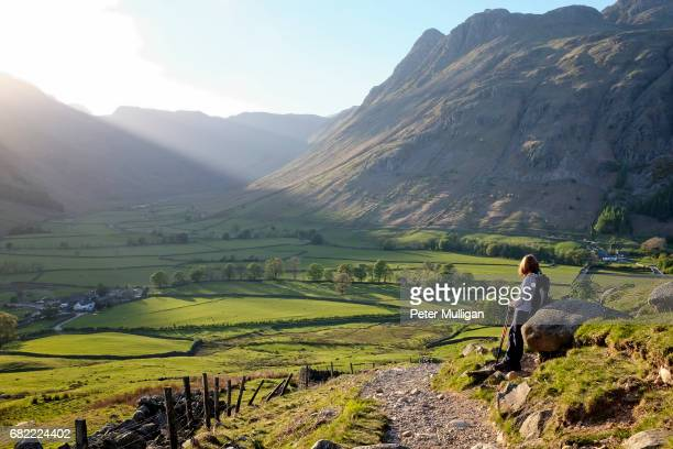 sunlit valley and hillwalker; english lake district, u.k - lake district stockfoto's en -beelden