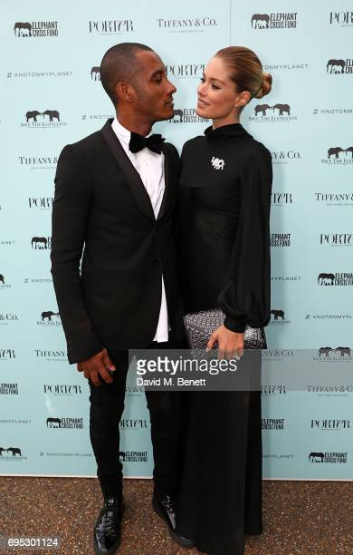 Sunnery James and Doutzen Kroes attend a dinner hosted by Doutzen Kroes and Lucy Yeomans in honour of Save the Elephants at The Orangery on June 12...