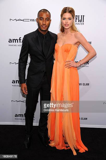 Sunnery James and Doutzen Kroes attend the amfAR New York Gala to kick off Fall 2013 Fashion Week at Cipriani Wall Street on February 6 2013 in New...