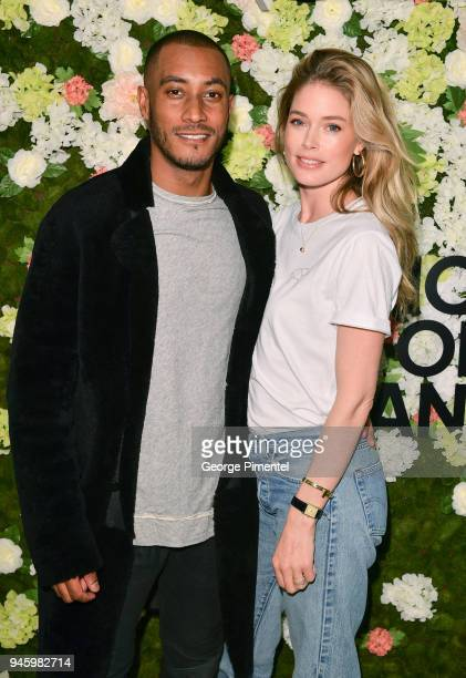 Sunnery James and Global Ambassador of Knot On My Planet Doutzen Kroes attend a personal appearance at Holt Renfrew flagship store on April 13 2018...