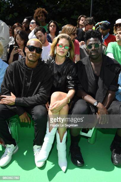 Sunney James Doutzen Kroes and Moses Sumney attend the Louis Vuitton Menswear Spring/Summer 2019 show as part of Paris Fashion Week on June 21 2018...