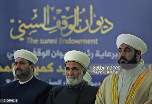 Sunni Muslim clerics attend a news conference by Iraq's Sunni Endowment Office announcing the date of the start of the Muslim holy month of Ramadan...