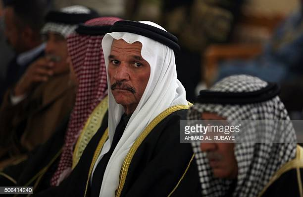 A Sunni Sheikh attends a meeting with Sunni and Shiite tribal clerics and leaders to dicuss reconciliation between the Muslim sects and recent...