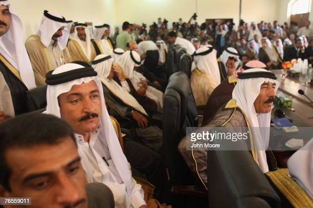 Sunni sheikhs and tribal leaders meet at a development summit September 6, 2007 in Ramadi, Anbar Province, Iraq. Iraq's central government announced...