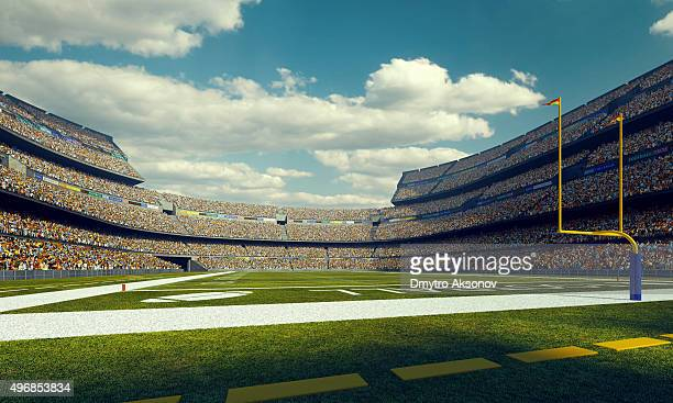 sunny american football stadium - football field stock pictures, royalty-free photos & images