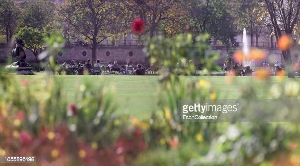 Sunny autumn day at Jardin des Tuileries in Paris