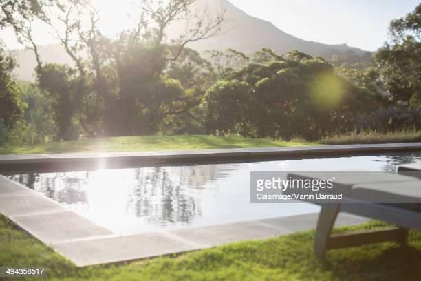 Sunny backyard with lap pool