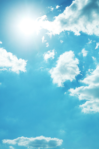 Sunny bright blue sky with clouds - gettyimageskorea