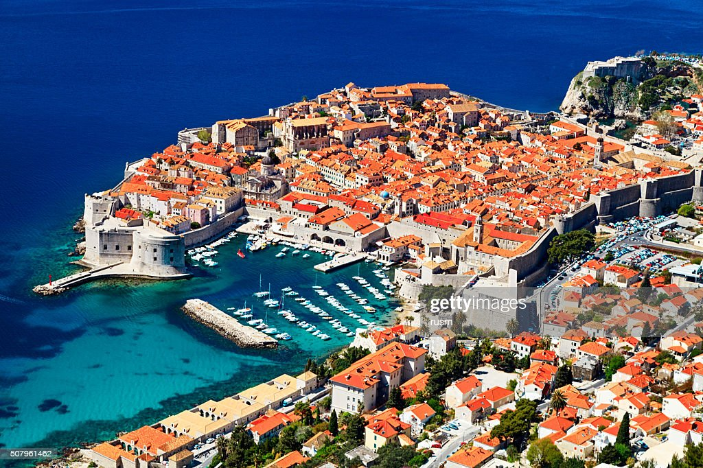 Sunny day aerial view of Old Town Dubrovnik, Croatia. : Stock Photo