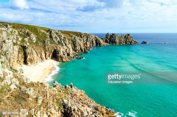 sunny day at pedn vounder beach near porthcurno in Cornwall England UK