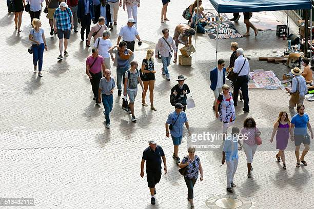 Sunny day in Circular Quay, Australia with tourist and sightseers