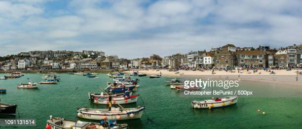 sunny day  in st. ives - st ives stock pictures, royalty-free photos & images