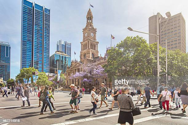 sunny day in sydney - town hall government building stock pictures, royalty-free photos & images