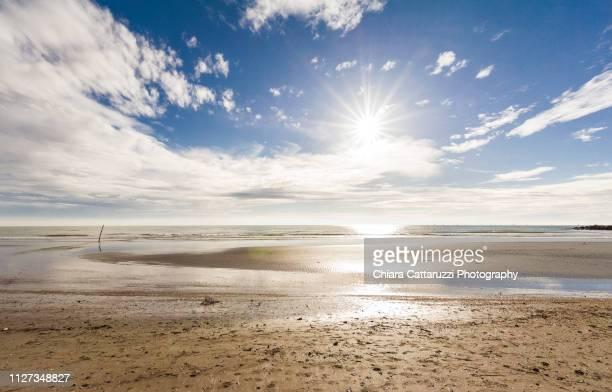 Sunny day on a winter beach