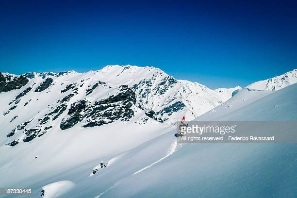 sunny day snowboarding - bardonecchia stock photos and pictures
