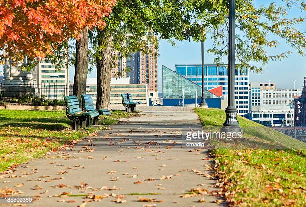 sunny day view of federal hill inner harbor, baltimore - baltimore stock photos and pictures