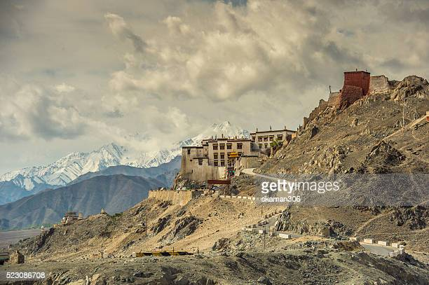 Sunny day with cloud landscape of spituk monastery near Leh ladakh