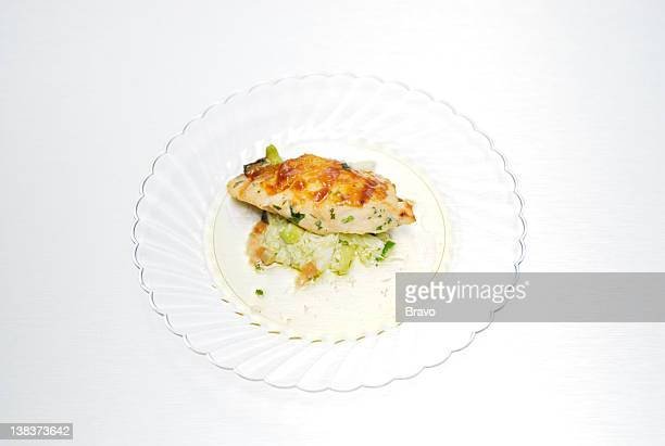 TOP CHEF 'Sunny Delights' Episode 3 Aired 6/10/07 Pictured Tre's Peach BBQ Glazed Salmon on Jumbo Lump Crab and Avocado Salad