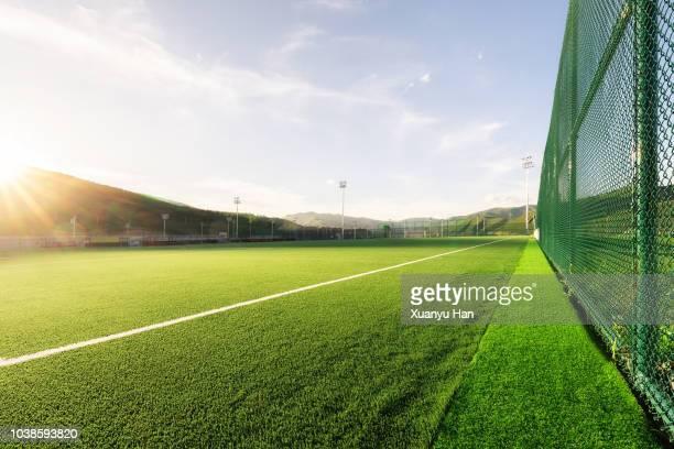 sunny football field at sunset - スポーツ施設 ストックフォトと画像