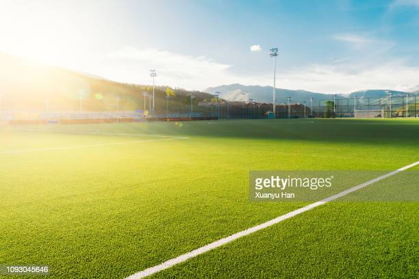 sunny football field - campo foto e immagini stock