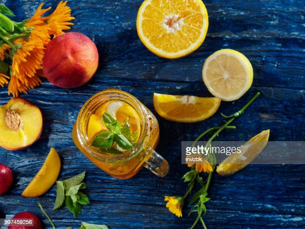 sunny fruit drink - peach flower stock pictures, royalty-free photos & images