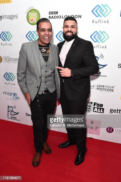 Sunny Grewal and Humza Arshad attend the Brit Asia TV Music Awards 2019 at SSE Arena Wembley on November 30 2019 in London England