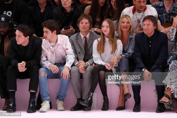 Sunny Hall a guest Nikolai von Bismarck Kate Moss with her daughter Lila Moss and CEO of Dior Pietro Beccari attend the Dior Homme Menswear Spring...