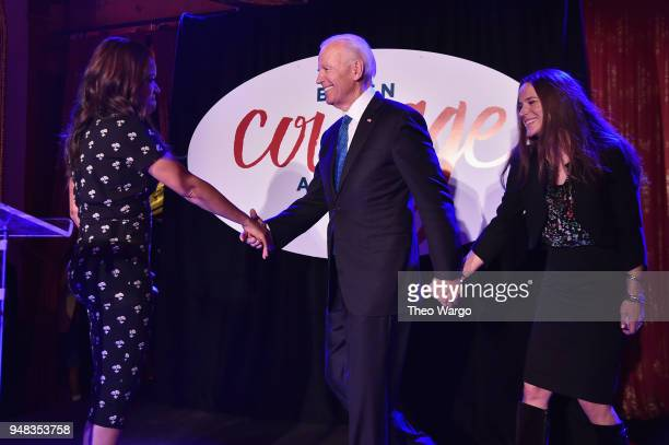 Sunny Hostin Joe Biden and Ashley Biden speak onstage at the Biden Courage Awards Presented by It's On Us at the Russian Tea Room on April 18 2018 in...