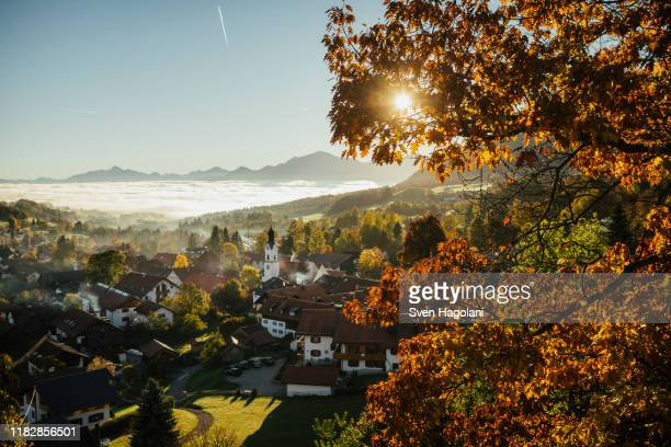 sunny, idyllic scenic autumn view of townscape, bad kohlgrub, bayern, germany - bayern stock pictures, royalty-free photos & images
