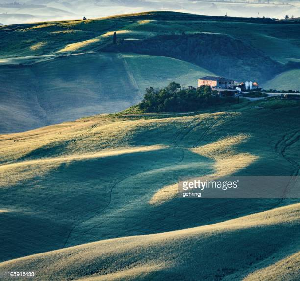 sunny landscape from val d'orcia, tuscany, italy - chianti region stock photos and pictures