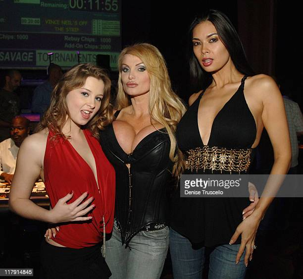 Sunny Lane Taylor Wane and Tera Patrick during Vince Neil's Off The Strip Poker Tournament at The Joint in The Hard Rock Hotel and Casino Resort at...