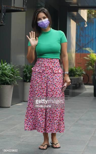 Sunny Leone is seen at the salon in juhu on February 25, 2021 in Mumbai, India