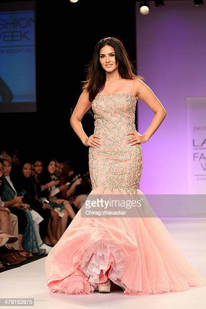 Sunny Leone walks the runway wearing designs by Jyotsna Tiwari at Lakme Fashion Week Summer/Resort 2014 at the Grand Hyatt on March 16 2014 in Mumbai...