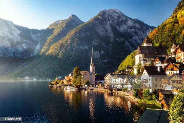 sunny morning in old town of hallstatt - hallstatter see stock pictures, royalty-free photos & images