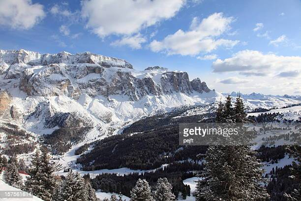 Sunny mountains at winter - Sella Group Massive, Dolomites
