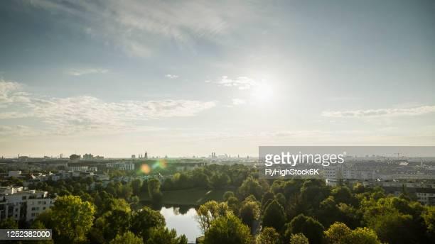sunny munich cityscape and westpark, bavaria, germany - münchen stock-fotos und bilder