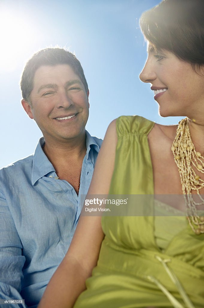 Sunny, Outdoor Portrait of a Mature Couple : Stock Photo
