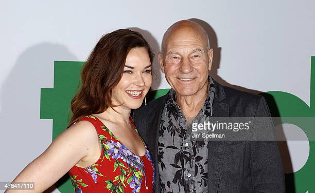 """Sunny Ozell and actor Patrick Stewart attend the """"Ted 2"""" New York premiere at Ziegfeld Theater on June 24, 2015 in New York City."""
