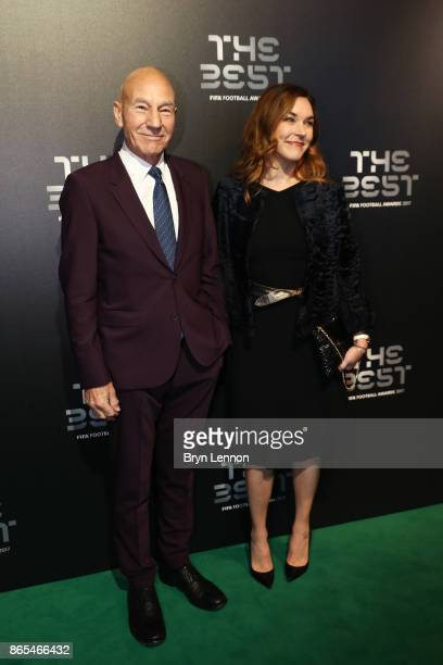 Sunny Ozell and Patrick Stewart arrive for The Best FIFA Football Awards Green Carpet Arrivals on October 23 2017 in London England