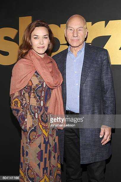 Sunny Ozell and Patrick Stewart attend the STARZ Pre-Golden Globe Celebration at Chateau Marmont on January 8, 2016 in Los Angeles, California.