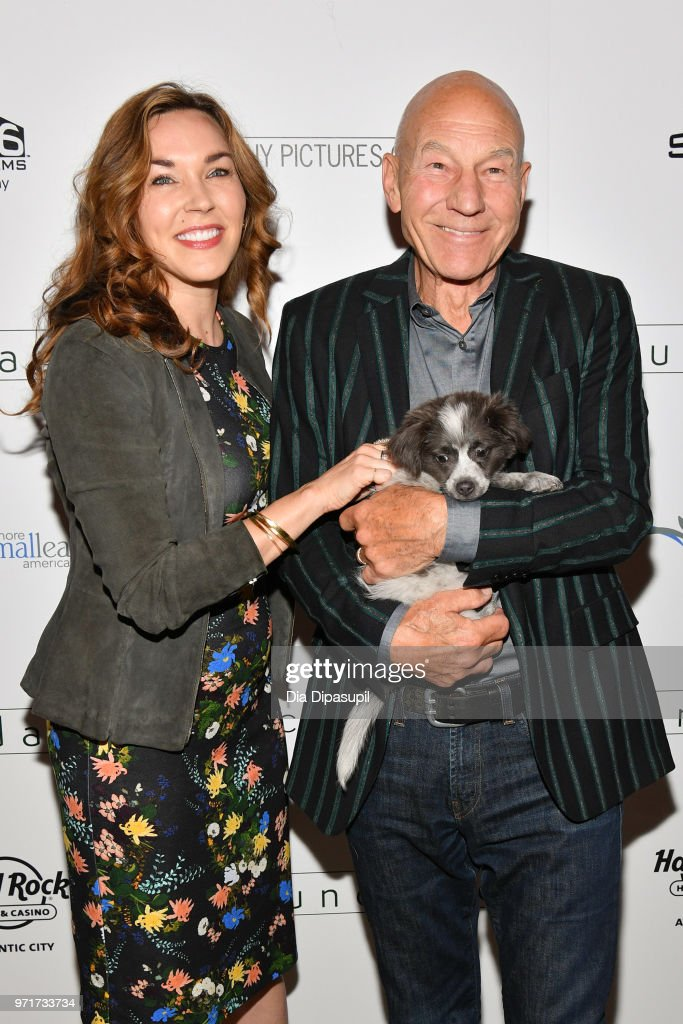 Sunny Ozell (L) and Sir Patrick Stewart attend the 'Boundaries' New York screening at The Roxy Cinema on June 11, 2018 in New York City.