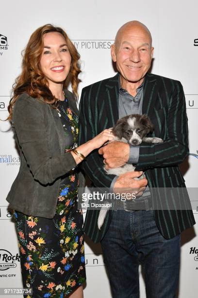 "Sunny Ozell and Sir Patrick Stewart attend the ""Boundaries"" New York screening at The Roxy Cinema on June 11, 2018 in New York City."