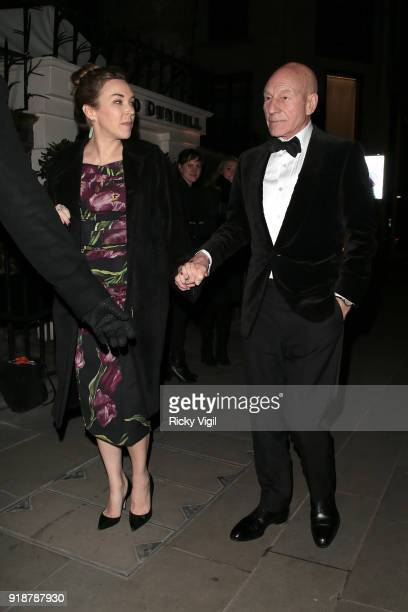 Sunny Ozell and Sir Patrick Stewart attend the Dunhill GQ preBAFTA filmmakers dinner and party cohosted by Andrew Maag Dylan Jones at Bourdon House...